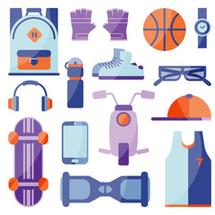 Vector Illustration. Clothing and shoes for active recreation. Equipment for sports and summer active relax. Flat icons