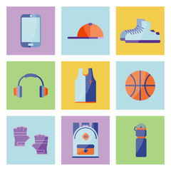 Vector Illustration. Equipment for summer relax. Set of sneakers, cap, phone, gloves, backpack, ball, t-shirt
