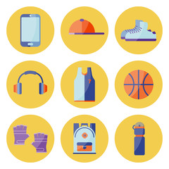 Vector Illustration. Equipment for summer relax. Set of sneakers, cap, phone, gloves, backpack, ball, t-shirt, bottle for water on yellow circles