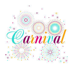 Carnival poster, banner with colorful party elements - fireworks, confetti, stars and splashes. Festival concept design.