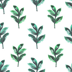 Seamless design with green watercolor plants on white background
