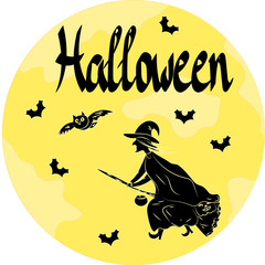 Illustration of a witch on a broomstick against the background of the moon in halloween