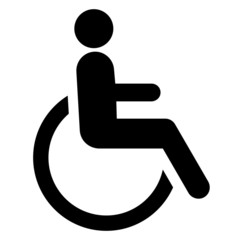 Disabled Icon vector. Simple flat symbol. Perfect Black pictogram illustration on white background.