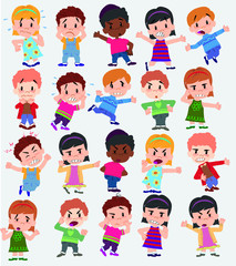 Cartoon character boys and girls. Set with different postures, attitudes and poses, always in negative attitude, doing different activities. Vector illustrations.