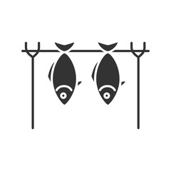 Grilled fish glyph icon