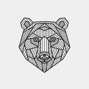 Vector illustration. Abstract stylized bear's head. Line art.