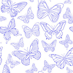 Seamless background with blue butterflies. Hand drawn pattern.Vector illustration. Outline drawing. Pattern for paper products or fabrics.