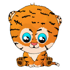 Isolated vector illustration a funny cartoon tiger cub.