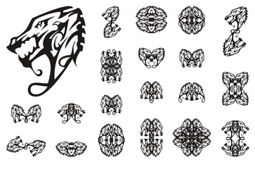 Tribal dragon collection tattoo art. Linear decorative symbols of a young dragon for your design. Black on white