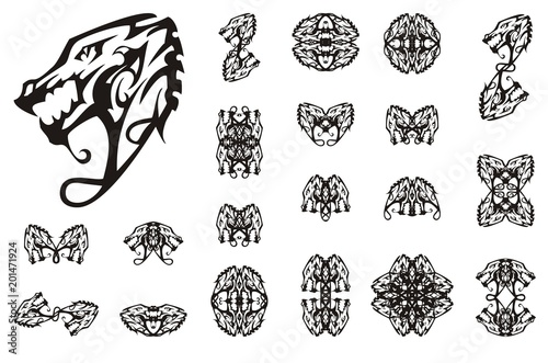 Tribal Dragon Collection Tattoo Art Linear Decorative Symbols Of A