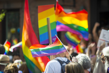 Unrecognizable crowd with rainbows flags and signs in the annual Pride Parade as it passes through Greenwich Village.