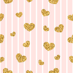 Gold heart seamless pattern. Pink-white geometric stripes, golden confetti-hearts. Symbol of love, Valentine day holiday. Design wallpaper, background, fabric texture. Vector illustration