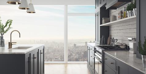 Banner, cucina moderna, render 3d Fototapete