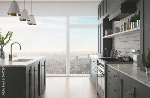 Cucina moderna realistica, appartamento in città, render 3d\