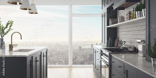 Banner, cucina moderna, render 3d\