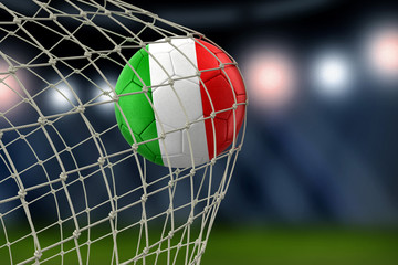 Italian soccerball in net