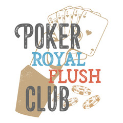 Vintage poker design for print on T-shirts, printed products and publications on the Internet. Vector illustration