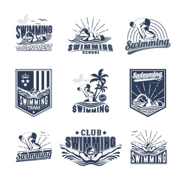 Set of swimming badges for print on T-shirts, printed products and publications on the Internet. Vector illustration