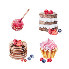 Set of watercolor illustration sweets desserts