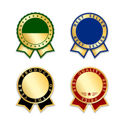 Award ribbons isolated set. Gold red design medal, label, badge, certificate. Symbol best sale, price, quality, guarantee or success, achievement. Golden ribbon award decoration. Vector illustration