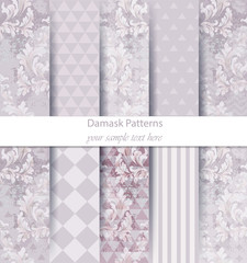Damask patterns set collection Vector. Classic ornament various colors with abstract background textures. Vintage decor. Trendy color fabrics