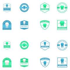 Dental vector logo icon illustration set
