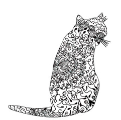 vector, isolated, icon, patterned silhouette cat
