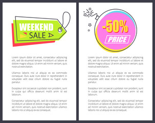 Weekend Sale Arrow Shaped Pointer Poster Advert