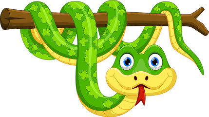 Cute cartoon snake on branch