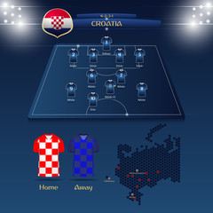 Team Croatia soccer jersey or football kit with match formation tactic infographic. Football player position on football pitch and stadium map. Vector Illustration.