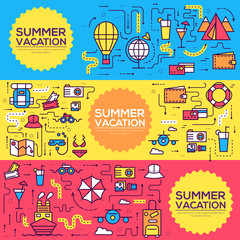 Summer travel infographic icons items banners design. Vacation rest with any elements set. Tour, trip, journey outline illustrations vector background. Tourist image on thin line style concept