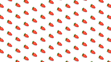 Background pattern of strawberries on white