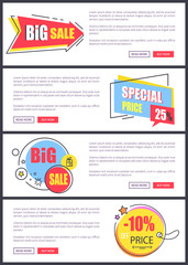 Big Sale and 10 Off Price Web Vector Illustration