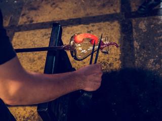 Worker forming holder on jug