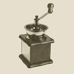 hand drawn vintage coffee grinder
