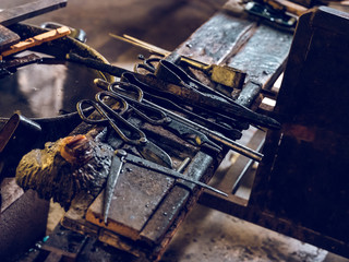 Row of tools on factory