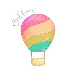Balloon digital clip art drawing illustration on white background