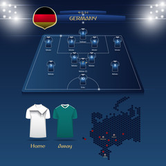 Team Germany soccer jersey or football kit with match formation tactic infographic. Football player position on football pitch and stadium map. Vector Illustration.