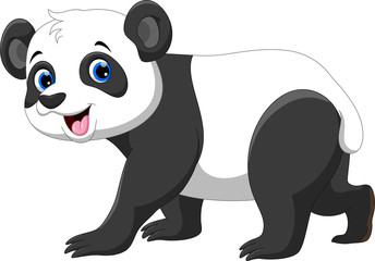Cute panda cartoon isolated on white background