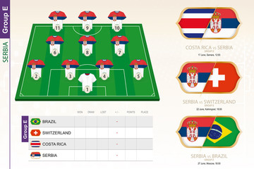 Serbia football team infographic for football tournament.