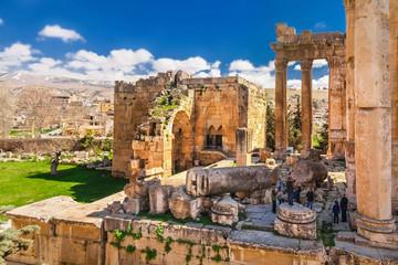 The Temple of Jupiter (Roman Heliopolis) in Baalbek, Lebanon. Baalbek is a city in the Anti-Lebanon foothills. Baalbek is famous Lebanon landmark Fototapete