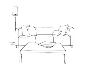 Graphical sketch of an interior room, sofa, table, floor lamp, liner