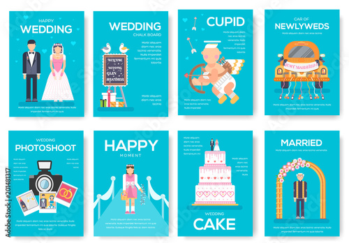 Wedding day vector brochure cards set. Marriage sign template of ...