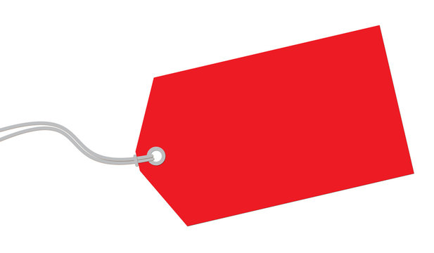 Red tag on white background.