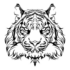 Anger Tiger head design for tribal tattoo vector with white background