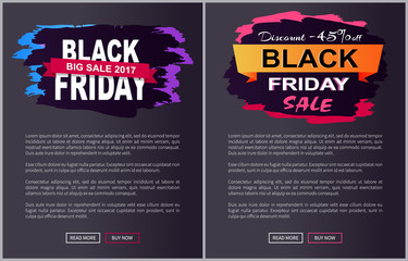 Discount Off Black Friday Sale Promo Labels Set