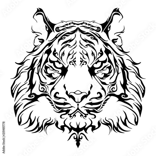 060932b8ae308 Anger Tiger head design for tribal tattoo vector with white background