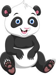 Cute panda cartoon isolated on white background