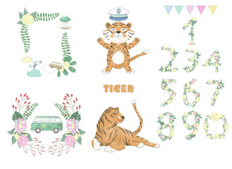 tiger digital clip art cute animal and flowers for card, posters, on white background for celebration