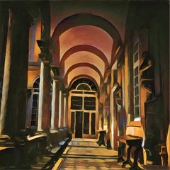 Beautiful corridor with arches. Big size oil painting pictorial art. Modern impressionism drawing artwork. Creative artistic print for canvas or textile. Wallpaper, poster or postcard design.